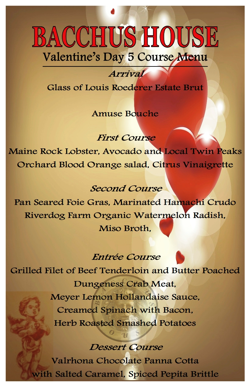Valentine's Day Prix Fixe Dinner - SOLD OUT! - Bacchus House Wine ...