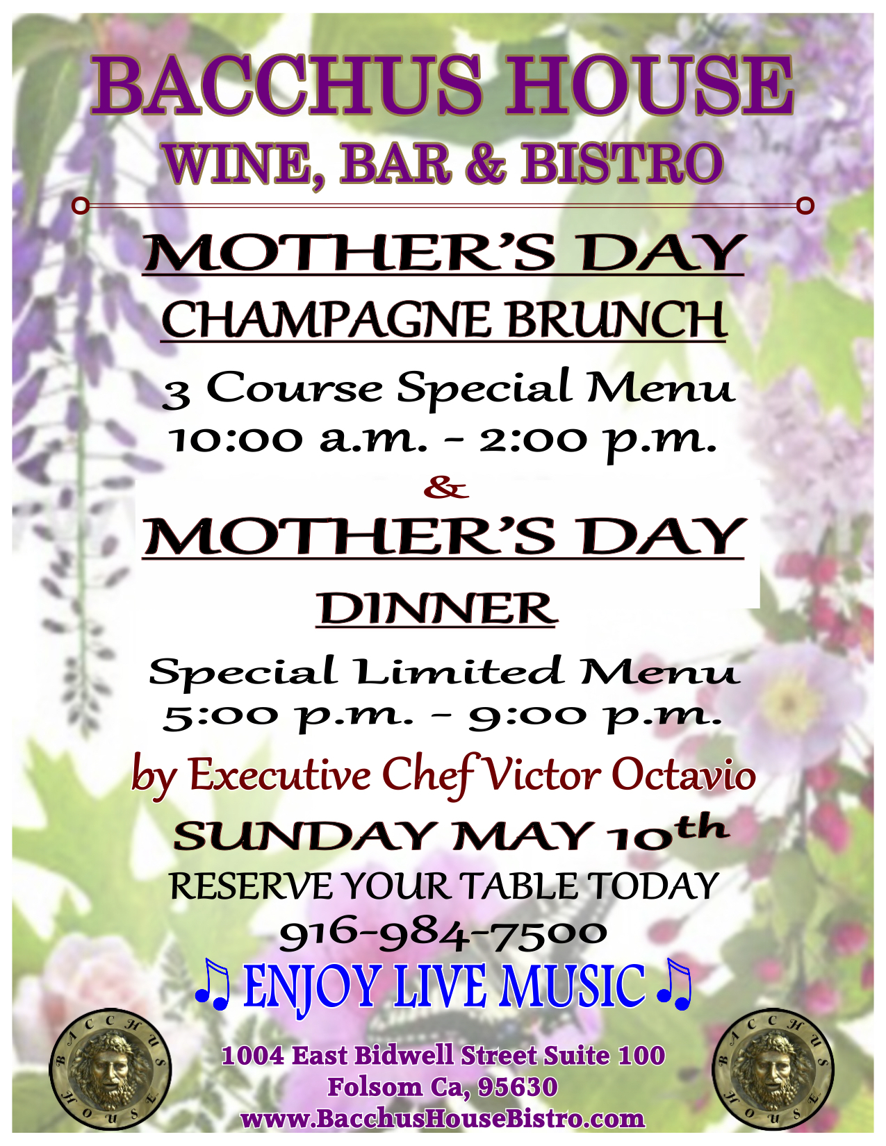 Mother S Day 2015 Special Dinner Menu Bacchus House Wine
