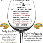 Painting and Vino at Bacchus House – Oct, Nov & Dec 2015