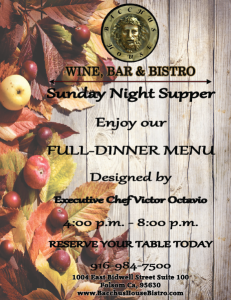 SUNDAY NIGHT SUPPERS at Bacchus House