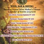 Wine Maker's Dinner Event Calendar for 2015/2016