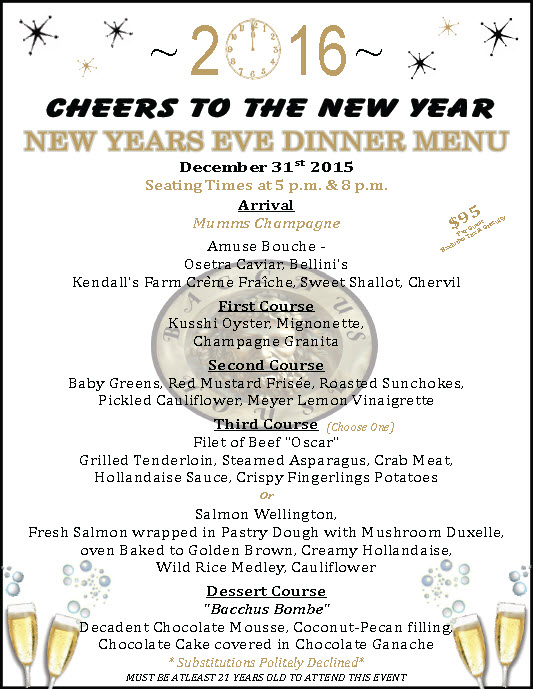 New Year's Eve Dinner at Bacchus House - December 31, 2015 ...