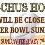 Bacchus House will be Closed for 'Super Bowl' Sunday – Feb 7th!