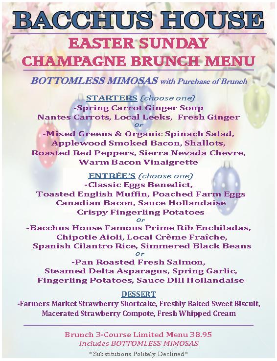 Easter sunday champagne brunch march 27th bacchus for Easter brunch restaurant menus