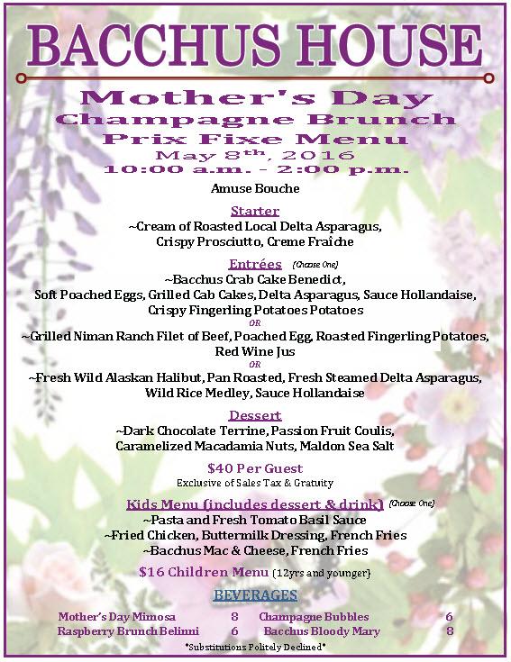 Bh Mothersday Brunch Menu