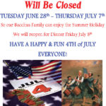 Bacchus House will be closed for Summer Holiday June 28 – July 7, 2016