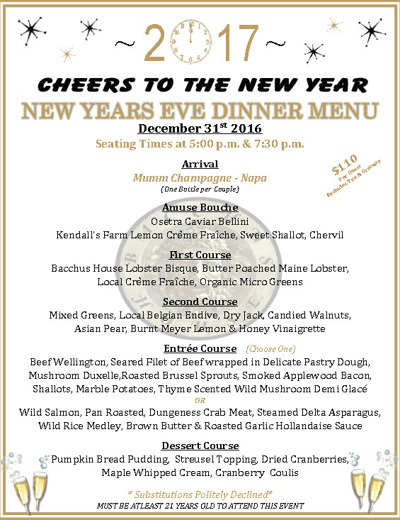 New year 39 s eve dinner at bacchus house bistro bacchus for What to make for new years eve dinner