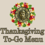 Bacchus House Thanksgiving To-Go Menu, November 2018