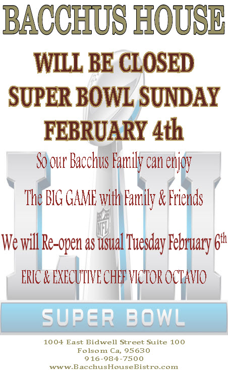 We will be Closed on Super Bowl Sunday