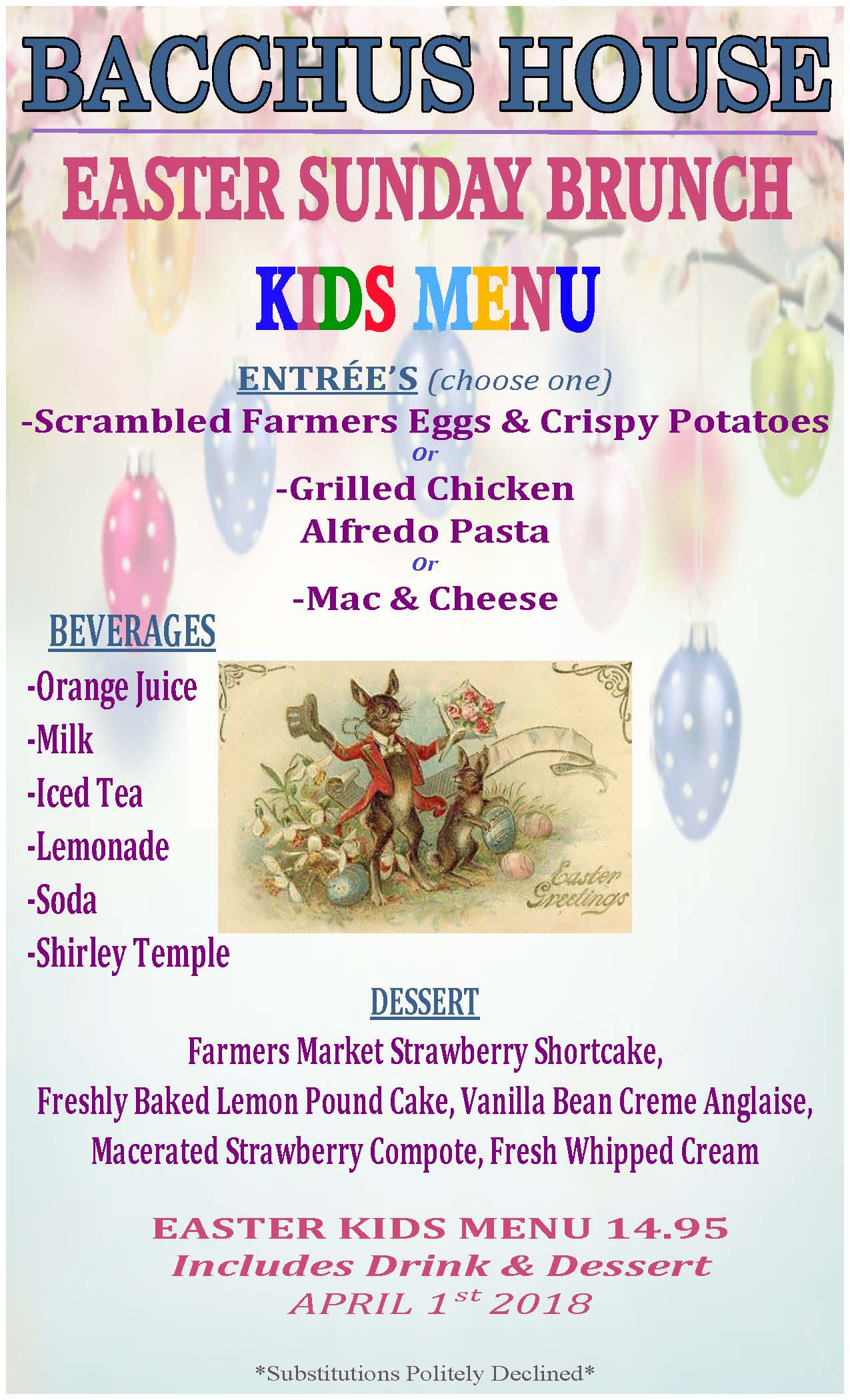 Easter Sunday Brunch Kid's Menu - 2018