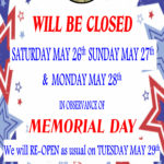 Bacchus House Closed Memorial Weekend