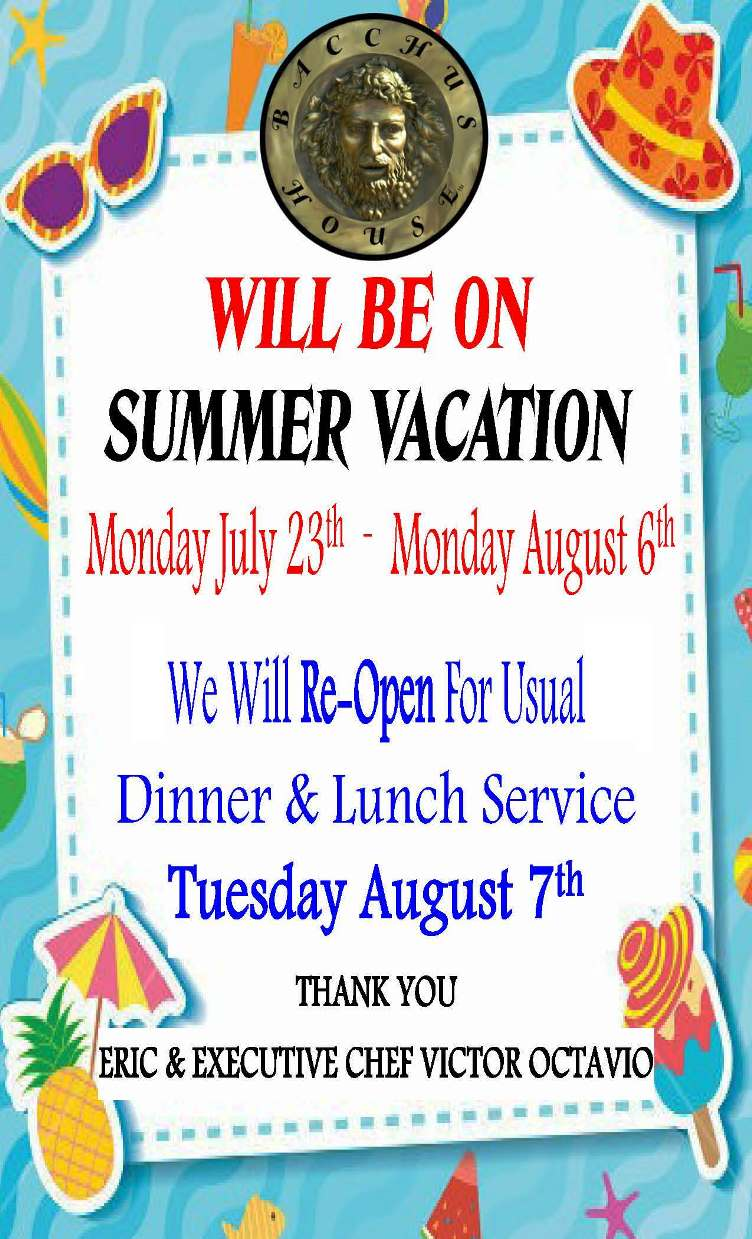 We will be Closed for Summer Vacation
