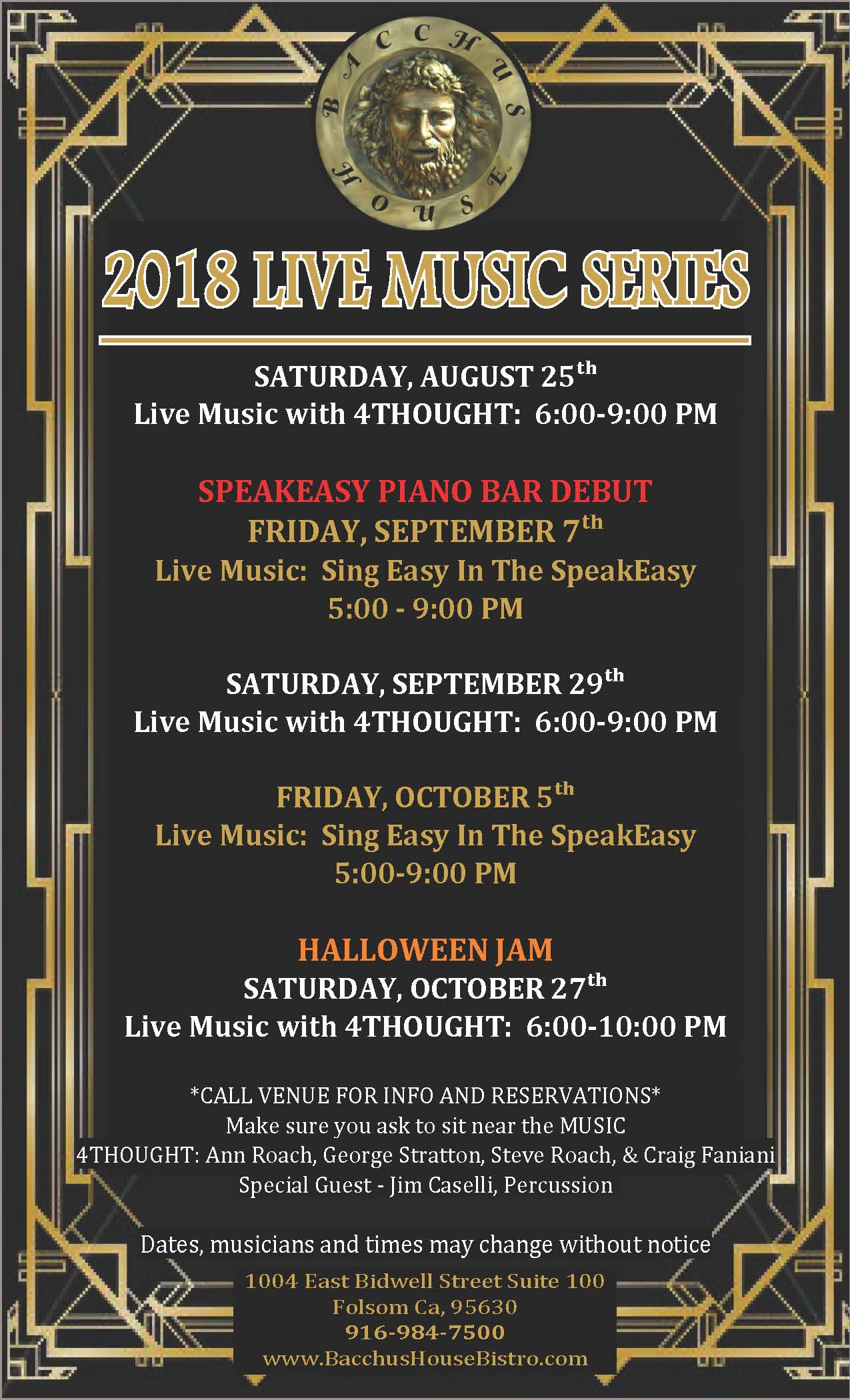 Bacchus House LIVE Music Series, August - October 2018