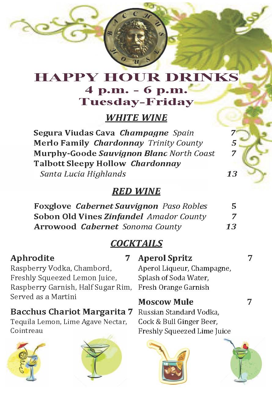 Happy Hour Cocktail Menu
