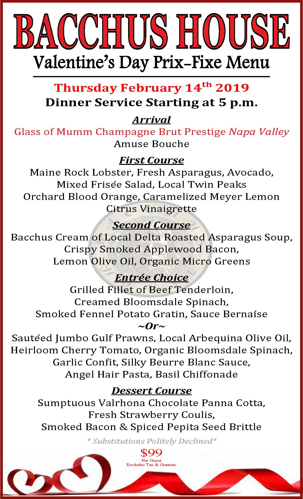 Bacchus Valentine's Day menu