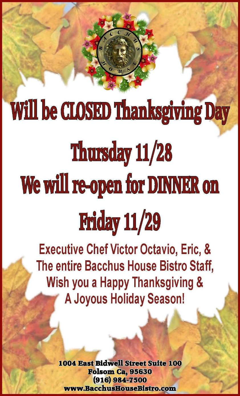 We will be Closed on Thanksgiving