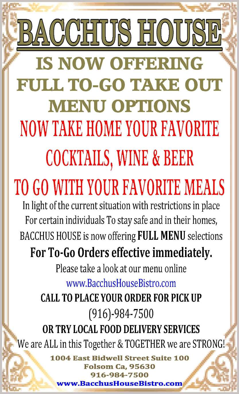 To-Go Take out menu options