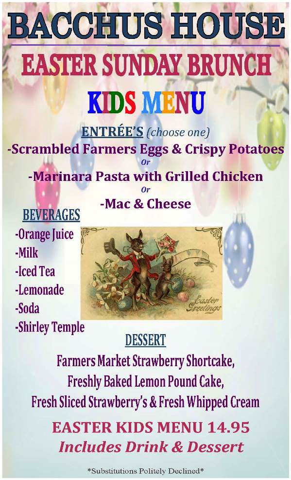Easter Sunday Brunch Kid's Menu - April 4, 2021